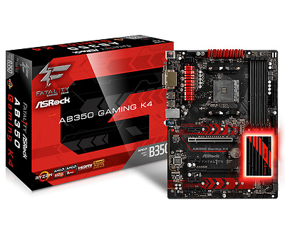 ASRock FATAL1TY AB350 GAMING K4 Socket AM4 AMD B350 DDR4 ATX Motherboard
