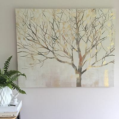 Huge 100cm Tree Canvas/Gold Highlights/Ready To Hang/Wall Art/Panel/Rectangle