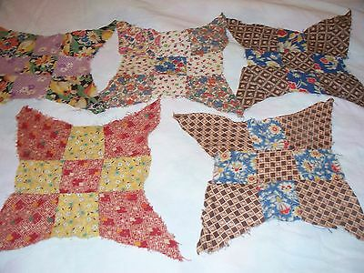Antique Quilt Blocks Improved Nine Diamonds Htf Cotton Cloth Hand Sewn 1920's