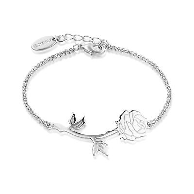 Disney Beauty & the Beast White Gold-Plated Rose Bracelet by Couture Kingdom