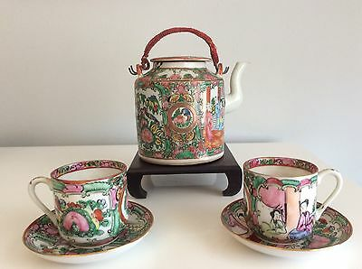 Antique Chinese Rose Medallion Tea Pot Set With Rosewood Stand * Estate Find