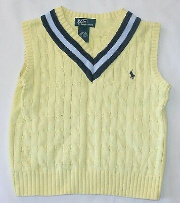 Polo Ralph Lauren Sweater Vest 5 Boys Yellow Blue V Neck Striped T22
