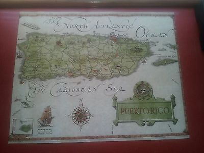 "Vintage 15 13/16"" x 20"" 1964 PUERTO RICO Map by Island Workshop EXCELLENT"