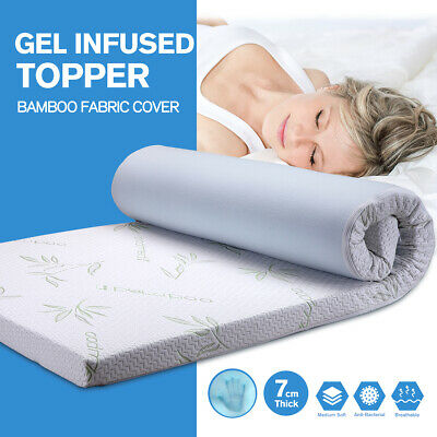 Double 7CM Gel Memory Foam Mattress Topper Pad/Bed Mat With Bamboo Fabric Cover