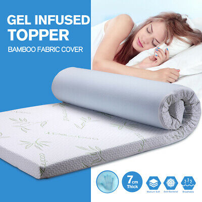 Gel Infused Memory Foam Mattress Topper With Bamboo Cover Bed Mat King Single7CM