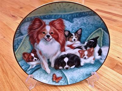 Danbury Mint Burnett LITTER OF LOVE  Butterfly LtdEdition Papillon Dog Plate