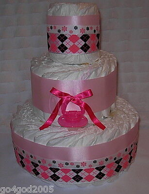 L@@K....Pink/Black Paci Girl 3 Tier Diaper Cake-Baby Shower Centerpiece