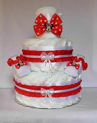 L@@K...Red Minnie Mouse Diaper Cake w/Socks and Headband Girl Baby Shower