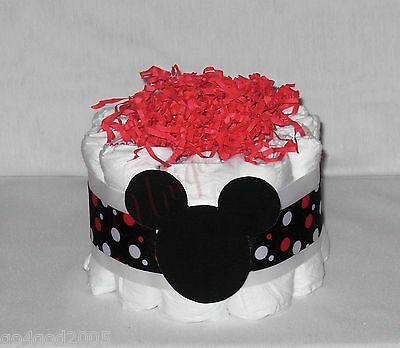 L@@K.. Black and Red Minnie Mouse Mini Girl/Boy Diaper Cake - Baby Shower
