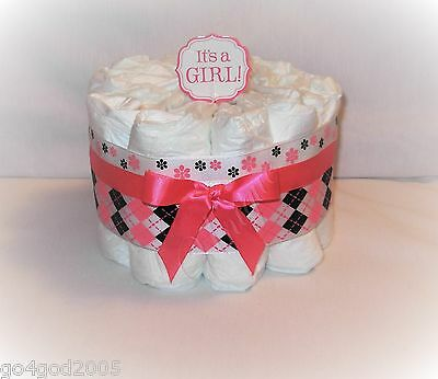 L@@K.. It's a Girl Pink and Black Mini  Diaper Cake - Baby Shower Centerpiece