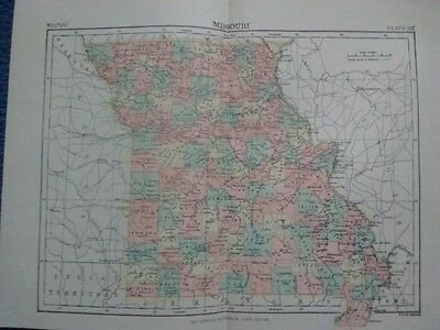 "Original Antique 1890 Missouri 10 "" x 14"" Multicolor Map"
