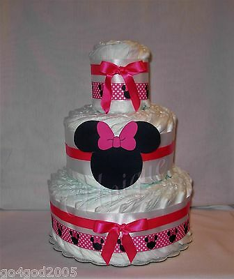 L@@K...Pink and Black Minnie Mouse Diaper Cake Girl Baby Shower Centerpiece