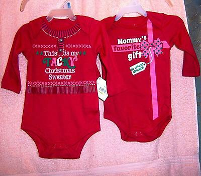 3-6M Christmas Infant Baby Boy Girl Clothes Holiday 2 one-piece Romper Suits NWT