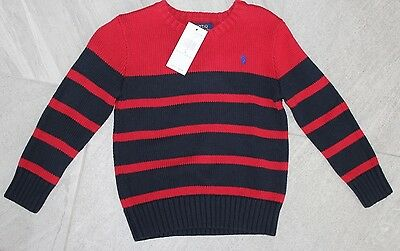 Ralph Lauren Polo Boys Size 4  Red/ Navy Blue Striped Sweater NEW $55