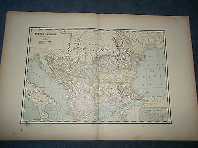 Original Antique 1886 Turkey in Europe or Sumatra+Turkish Empire Multicolor Map
