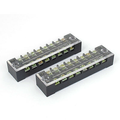 600V 15A 8 Positions Screw Electric Wire Connection Barrier Terminal Strip 2Pcs