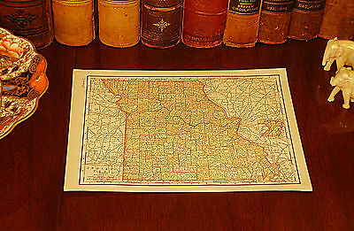 Original 1895 Antique Map MISSOURI Independence Springfield Columbia St Louis MO
