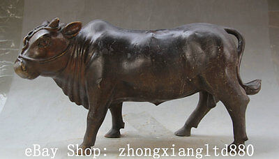 """13"""" Old Chinese Bronze Zodiac Year Bull Oxen cattle strong Statue Sculpture"""