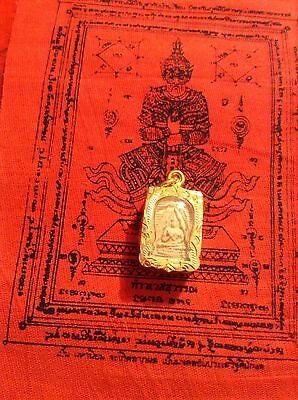 Buddha Amulet Meditation Powerful Love Thailand Pendant White In Goldplated Case