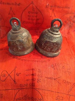 Thai Amulet  Bell Rakang Temple Buddha Blessed Charm Elephant Pray Monk (a Pair)