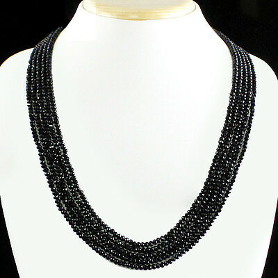 Flawless 182.50 Cts Natural 5 Line Sparkling Earth Mined Black Spinel Necklace