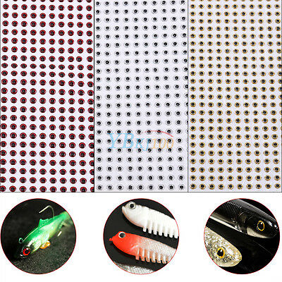 500pcs Durable Fish Eyes 3D Holographic Lure Eyes Fly Tying Jigs Crafts Dolls TP