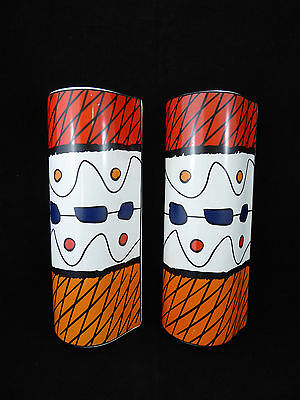 Retro WALL VASES Pair Pockets - Orange Red Blue Retro Pattern Pottery Ceramic
