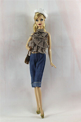 5in1 Fashion clothes/outfit Casual Top+pants+shoes+bag+hat For Barbie Doll