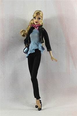 6in1 Fashion Doll Clothes/outfit Coat+vest+pants+scarf+shoes+bag For Barbie Doll