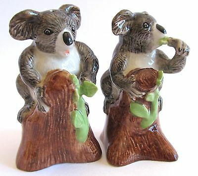 Australian Koala Sitting on Stumps Ceramic Salt & Pepper Shakers