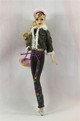 7in1 clothes/outfit Coat+vest+pants+scarf+shoes+bag+eyepatch For Barbie Doll