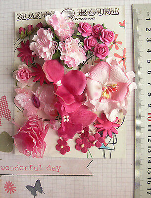 ROSE & Lt PINK Mix & BUTTERFLY - 25 Flowers 9 Styles PAPER Flowers 5-55mm B HH