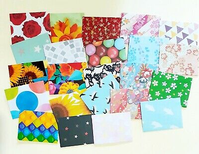 "Handmade little envelopes 1-3/4"" x 2-1/4"" FLORAL mini florist small tooth fairy"