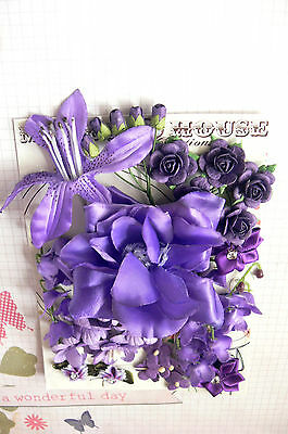 Dark PURPLE Mix - 28 Flowers 9 Styles 4 Tones PAPER & FABRIC Approx 10-75mm HH4