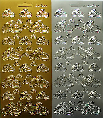 38 Assorted Wedding Rings Peel Off Sticker Sheet For Card Making & Invitations