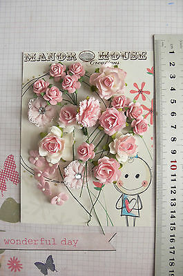 PASTEL PINK - 23 Flowers & Roses 4 Tones 4 Styles - PAPER & FABRIC 15-28mm HH