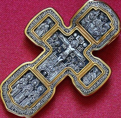 BIG RUSSIAN GREEK ORTHODOX CROSS. SILVER 925 GOLD .999 GUARDIAN ANGEL ICON. 30g.