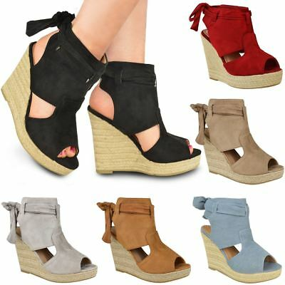New Womens Ladies Wedge Ankle Lace Tie Up High Heel Summer Sandals Platform Size