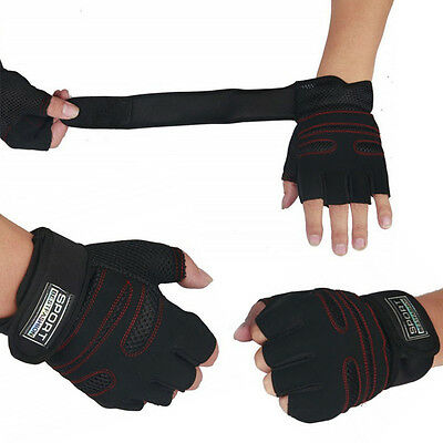 Weight Lifting Gym Gloves Training Fitness Wrist Wrap Sports Exercise Workout TP