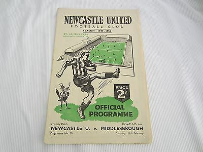 1949-50 FRIENDLY NEWCASTLE UNITED v  MIDDLESBROUGH