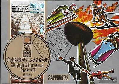 Equatorial-Guinea block4 (complete issue) used 1972 Olympics Wi