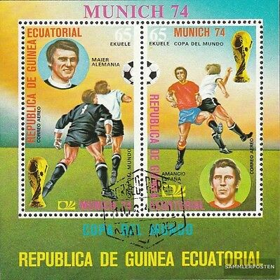 Equatorial-Guinea block107 (complete issue) used 1974 Football-