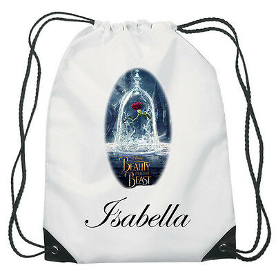 Personalised Enchanted Rose Drawstring School PE Bag Beauty and the beast