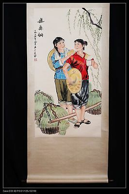 Long Rare Old Chinese Scroll Hand Painting Sisters Figures Mark Collection PP477