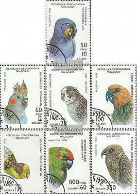 Madagascar 1423-1429 (complete issue) used 1993 Parrots
