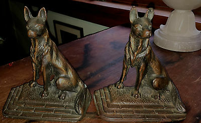 Vintage German Shepherd Dog Book Ends brass over iron
