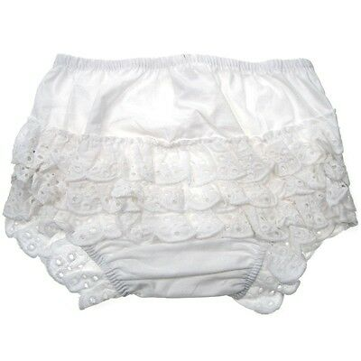 Baby girl summer frilly knickers pants goes dress lace 0-6-9-12-18 months white