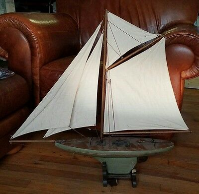 "VINTAGE 90s BIG WOOD TOY POND SAILING SAIL BOAT TRIBUTE MODEL 31''T x 29""L"