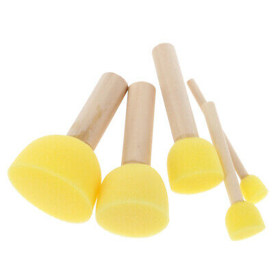 5Pcs/Set Kids Sponge Paint Brush Wooden Handle Children Painting Graffiti