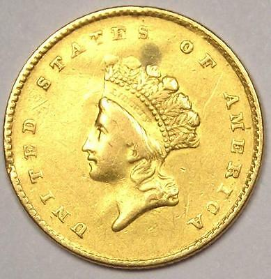 1854 Type 2 Indian Dollar Gold Coin (G$1) - AU Details - Rare Type Coin!